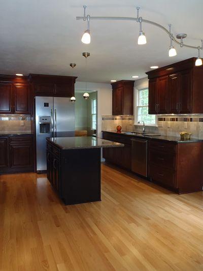 illuminated kitchen with track lighting