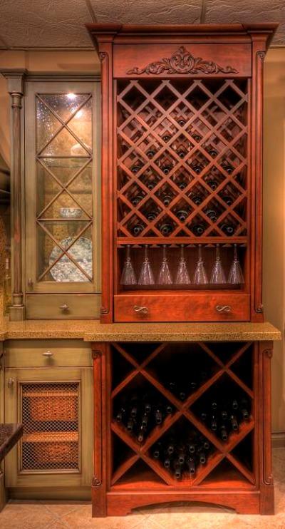 Elmwood wine rack cabinet