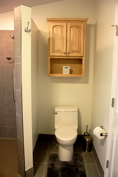 One Piece Toilet with Maple Cabinet Topper