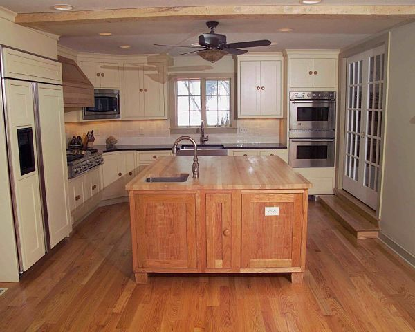 Kitchen addition with butcher block island