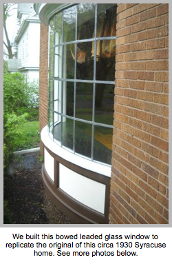 Bowed leaded glass window