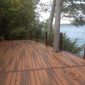 Deck with view of water
