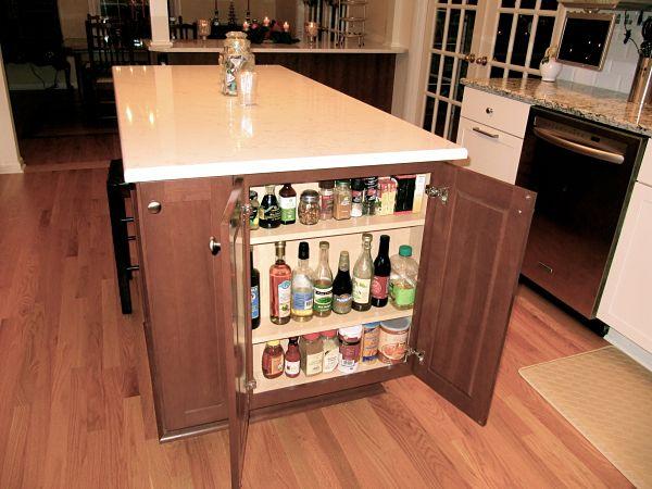 Kitchen Island Narrow Shelf Storage