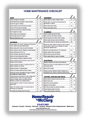 McClurg Home Maintenance Checklist