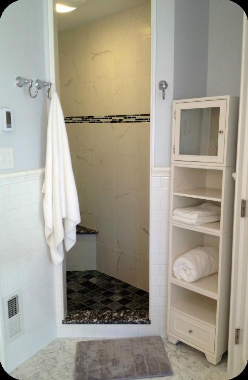 Open Shelving in Bathroom
