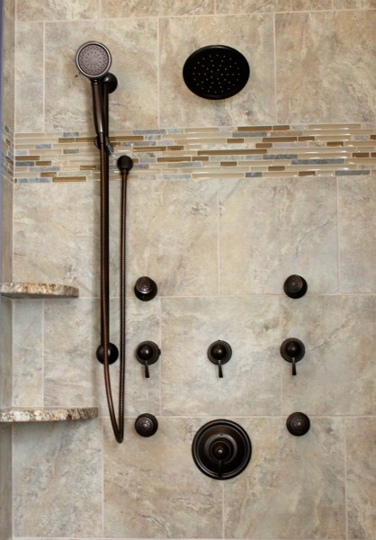 Shower with Cambria shelves