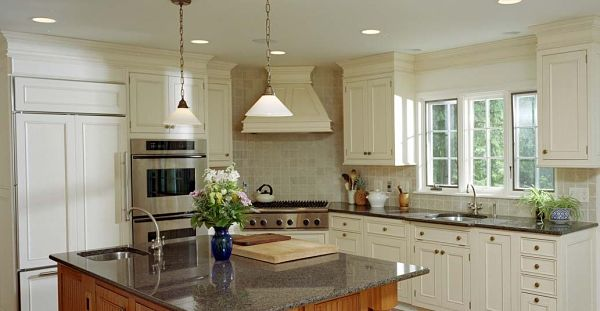 White Kitchen With Crown Molding