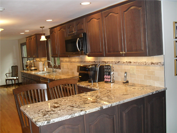 This kitchen remodel included removing some an interior wall to allow the new kitchen to be extended into the old dining room space.