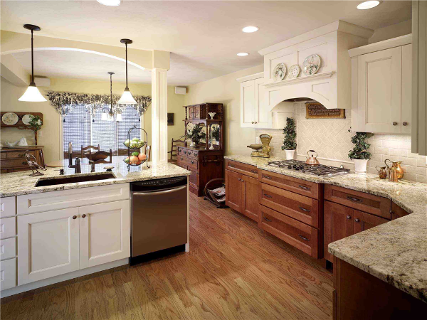 This elegant, open kitchen is part of a large-scale two-story addition that includes an in-law suite. The kitchen expansion includes space that previously was part of the garage.