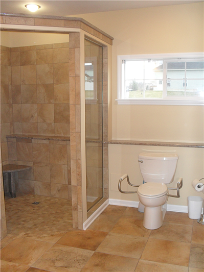 walk-in shower with Universal Design elements
