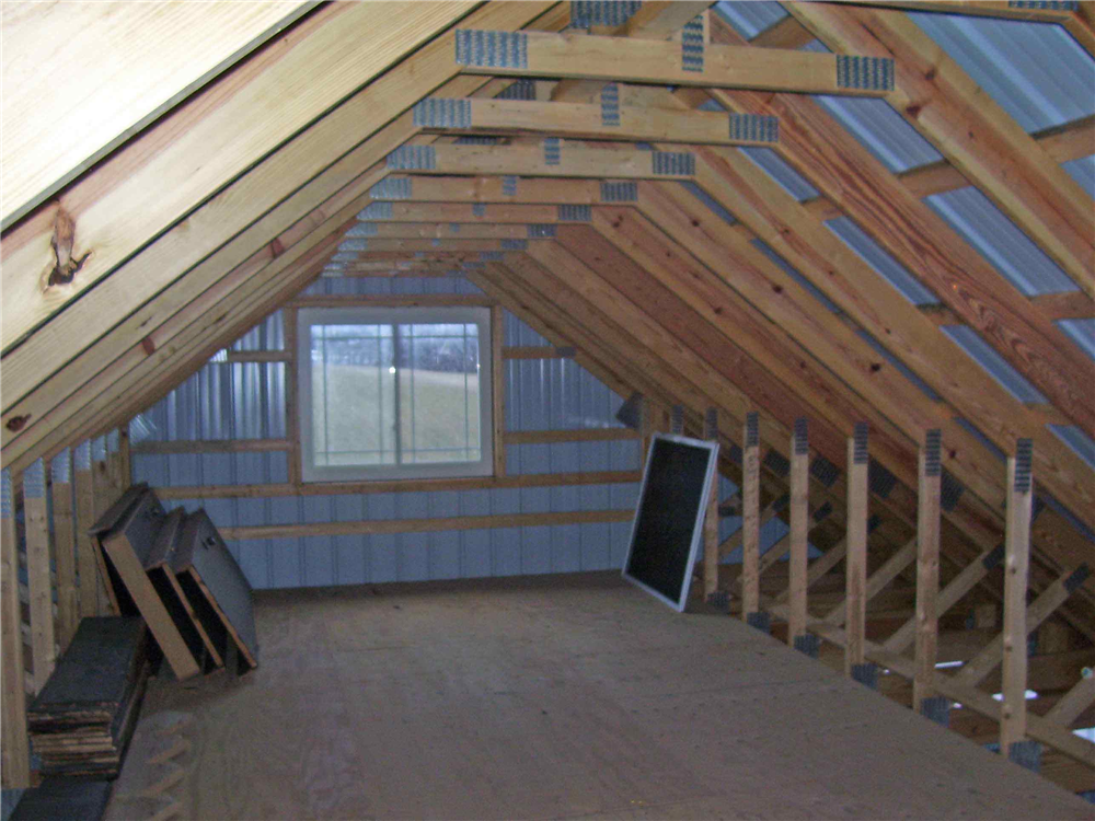 An attic space was added to this pole barn to provide an extra 500 square feet of storage space.