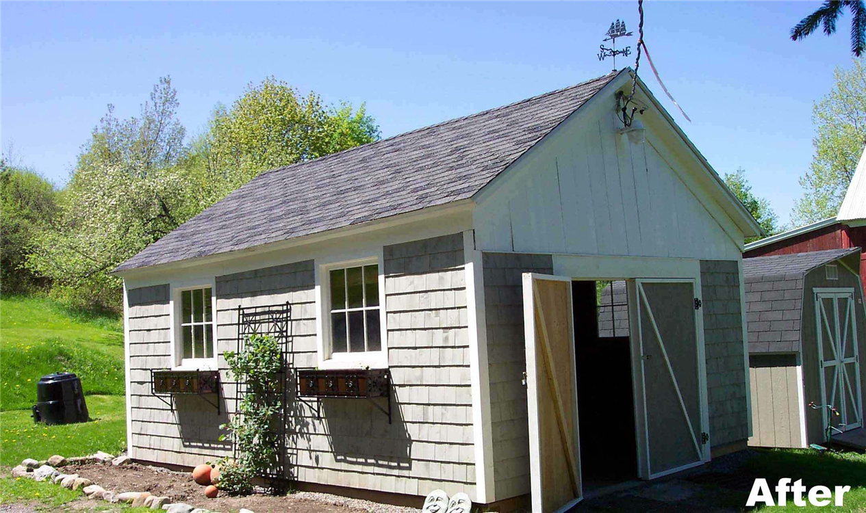 Temporary supports were placed on the shed while rot was removed and replaced with pressure-treated lumber. The exterior doors were built on-site. Siding was replaced and windows were restored. A fresh coat of paint helped make the building look like new.