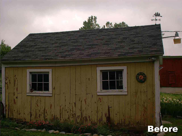 The siding and framing were rotting away on this shed. The paint was peeling from the entire building.