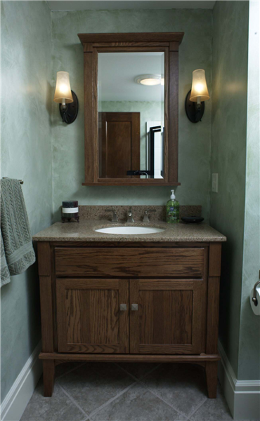 Open space on the sides and legs under the vanity replicate the look of a piece of fine-crafted furniture.