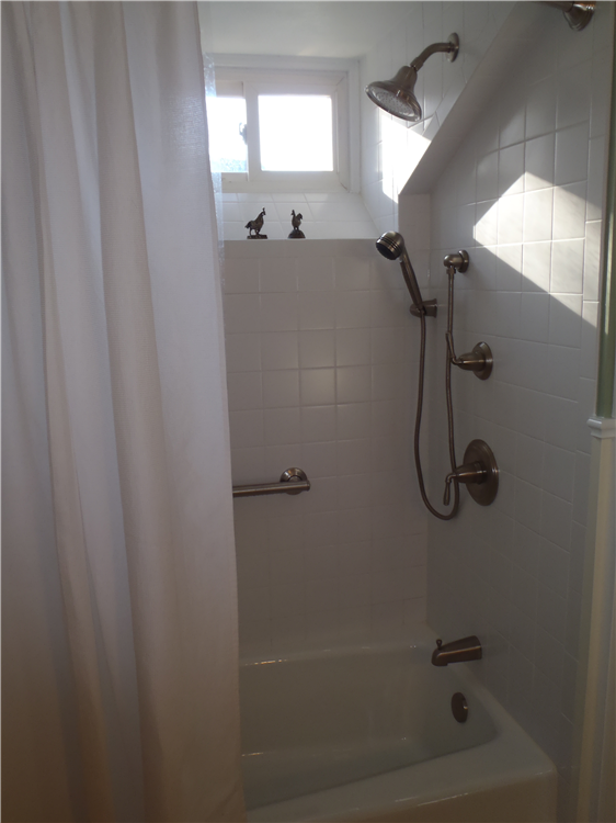 The homeowners added a grab bar and handheld showerhead to the shower. The simple white tile is easier to maintain and is in the character of the home.