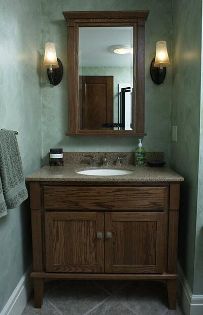 furniture-style bathroom vanity fits into irregular space
