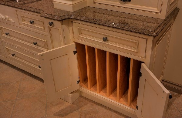 Base cabinet with tray dividers from Elmwood Fine Custom Cabinetry.