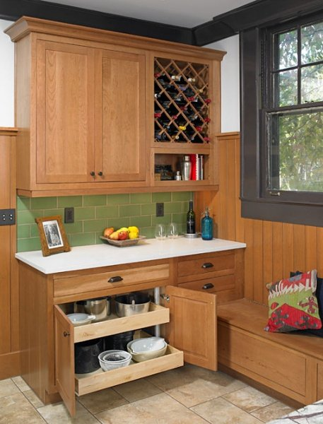 Base cabinet pullout shelves from Bishop Cabinets.