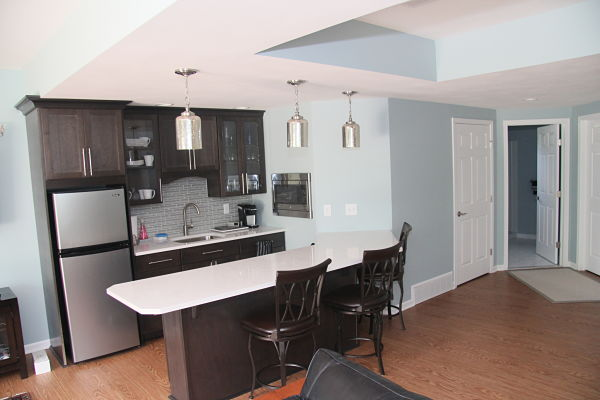 lower level kitchenette with vinyl flooring