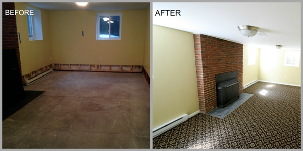 Before and After - Basement Insurance Restoration
