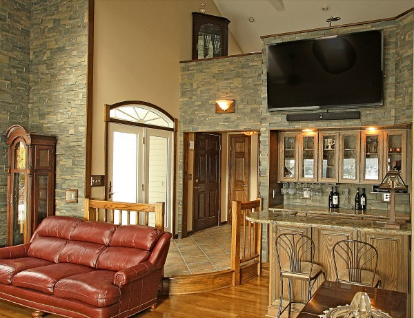 Open Family Room with Bar