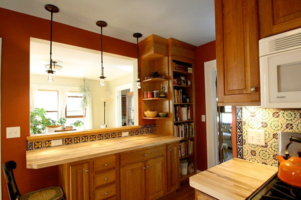 Kitchen with Built in Shelving to Match Existing Cabinets