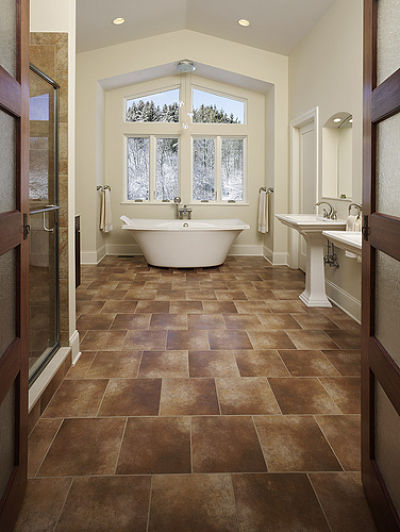 Master Bathroom With Cathedral Ceiling