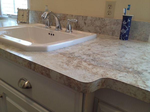 The latest trends in laminate countertop products and edge options for Bathroom laminate countertops