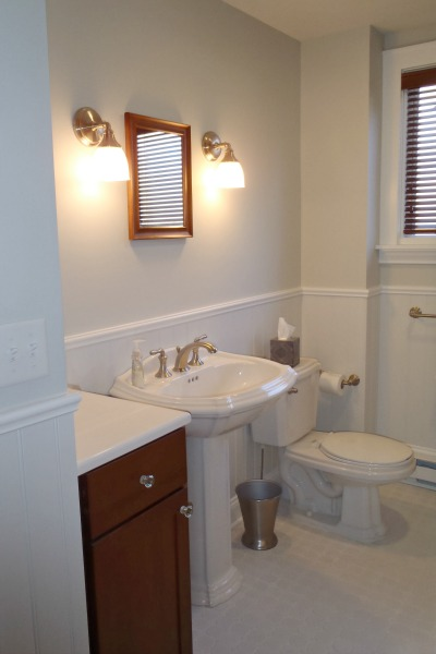 Bathroom with Pedestal Sink and Elongated Toilet