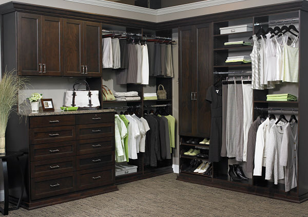 Custom Walk-in Closet with Multiple Rods and Drawers