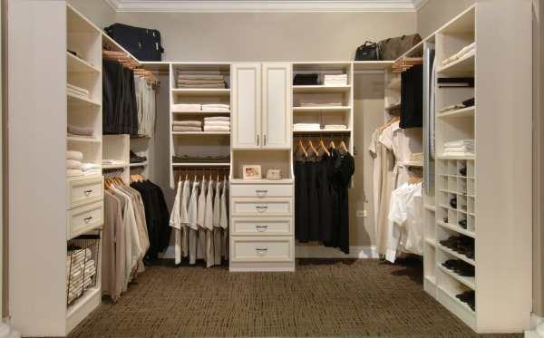 Bisque Walk-In Closet with Various Depth Shelves