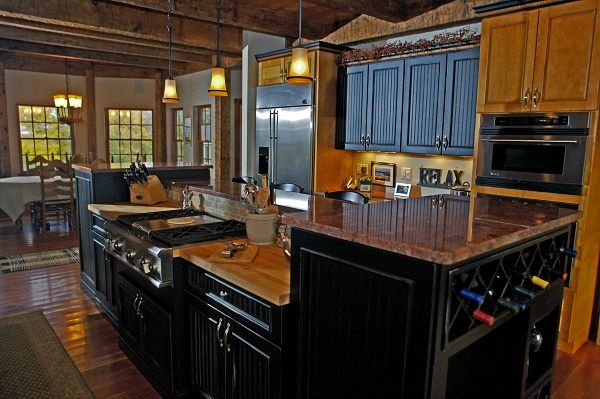 Rustic Kitchen with Multi Tiered Island