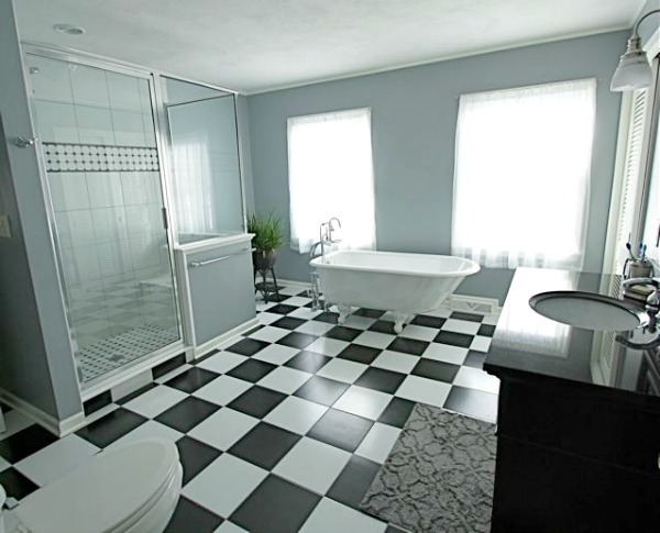 Black and White Bathroom with Walk In Shower and Tub title=