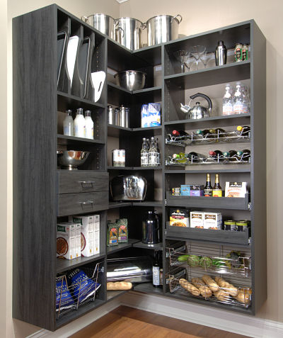 pantry storage system with accessories