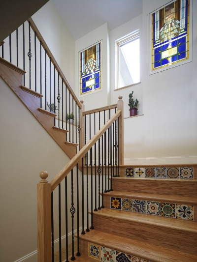 stairs with inlaid tile