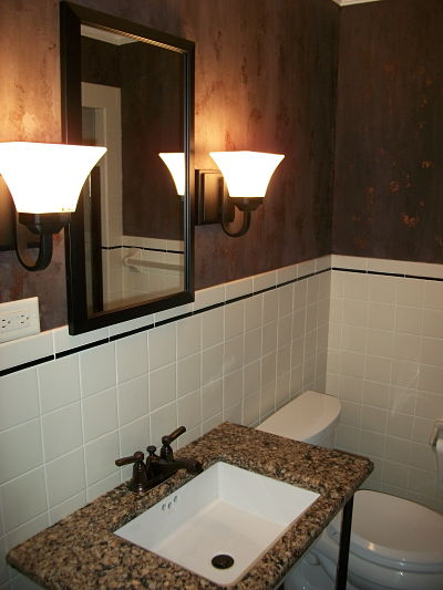 Half Bath with Tile and Faux Finish Walls