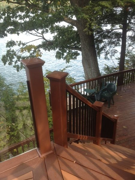 deck railings with aluminum balusters and glass panels