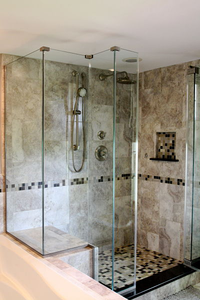 walk in shower with custom glass surround