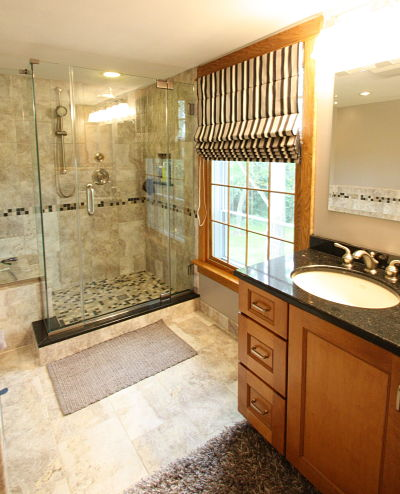 walk in shower and vanity with cambria countertop