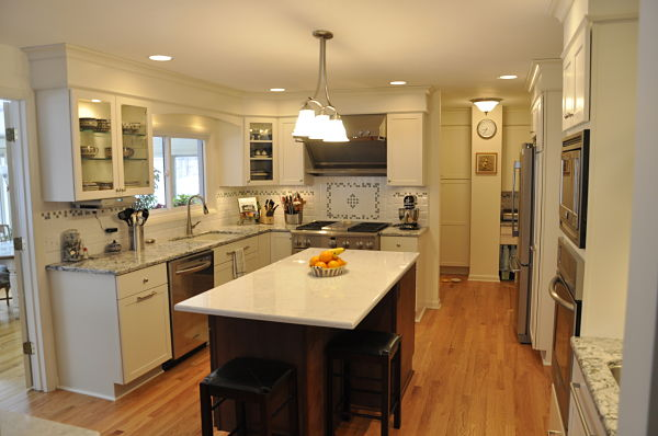 remodeled kitchen with open floor plan and island