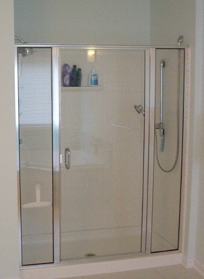 prefab walk-in shower with hinged glass door
