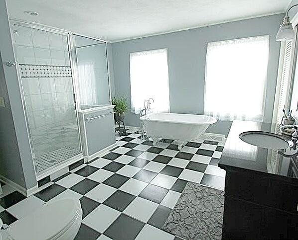 spacious master bath with walk-in shower and soaking tub