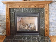 fireplace with mission oak mantel