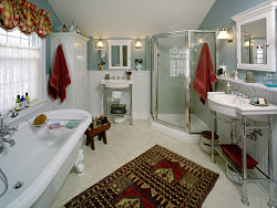claw foot tub and walk-in shower