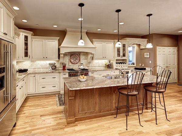 kitchen with painted and stained cabinets