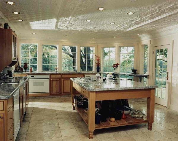 kitchen island with open storage