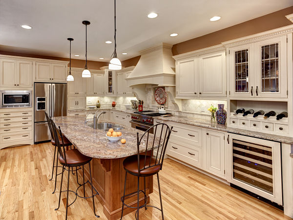 transitional kitchen with large island