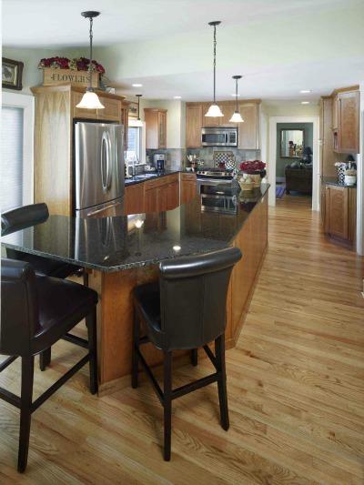 oak kitchen with large island