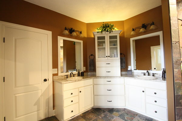 double sink vanity with white painted cabinets