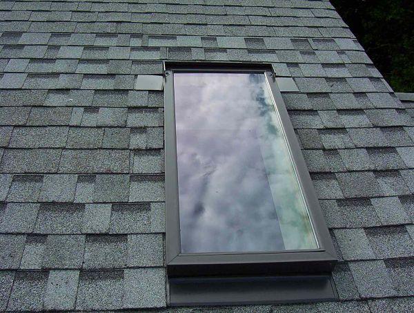 Velux skylight installed on roof
